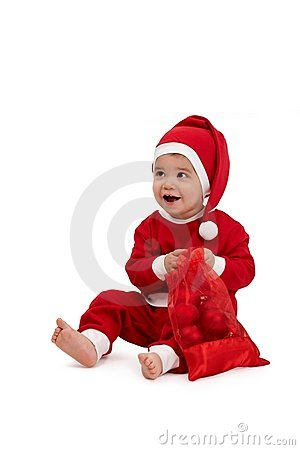 Happy little boy in santa costume