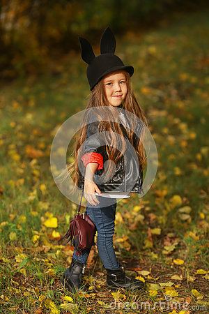 Free Happy Little Child, Baby Girl Laughing And Playing In The Autumn On The Nature Walk Outdoors. Stock Image - 78331841