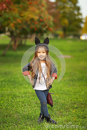 Free Happy Little Child Posing For The Camera, Baby Girl Laughing And Playing In The Autumn On The Nature Walk Outdoors. Stock Photos - 78332073