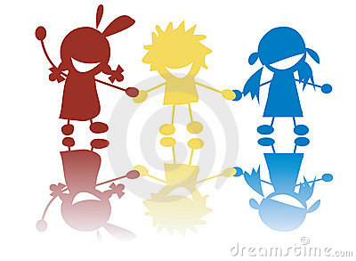 Happy little children holding hands in colors
