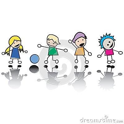 Happy little children at play