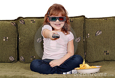 Happy little girl with 3d glasses