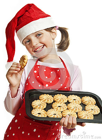 Free Happy Little Girl Baking Christmas Cookies Royalty Free Stock Photography - 26613347