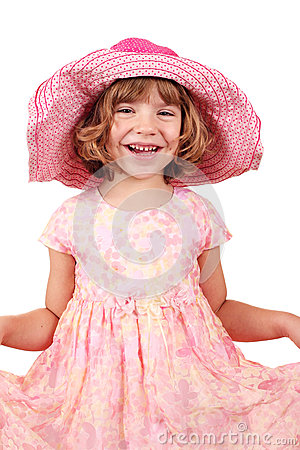 Happy little girl with big hat