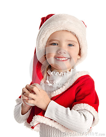 Happy little girl with christmas hat
