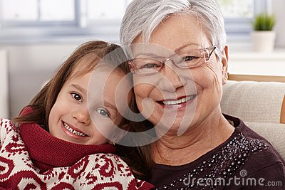 Happy little girl with grandmother