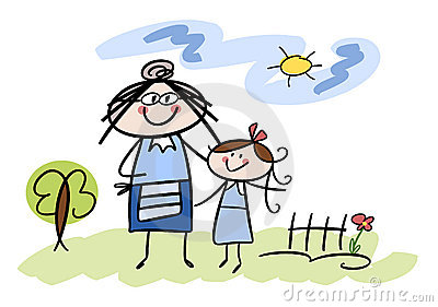 happy little girl with her grandmother royalty free stock