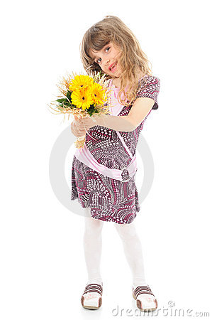 Happy little girl holding flowers