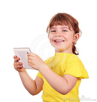 Happy little girl holding tablet