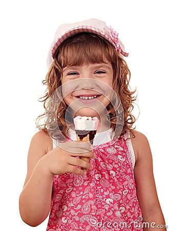 Happy little girl with ice cream