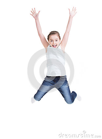 Happy little girl jumping.