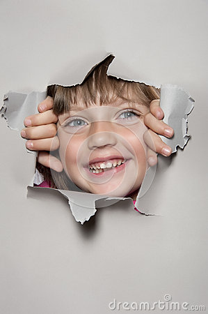 Little Girl Looking Out Of A Paper Hole Stock Images Image 26219104