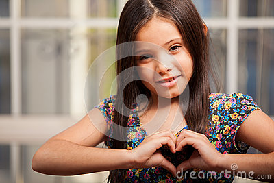 Happy little girl in love