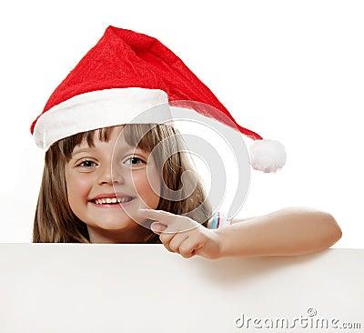 Happy little girl with santa cap