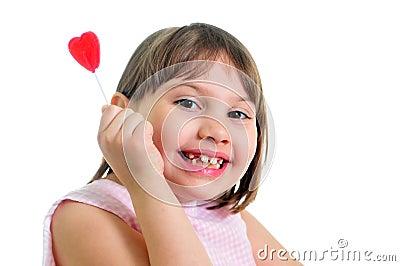 Happy little girl with sweet
