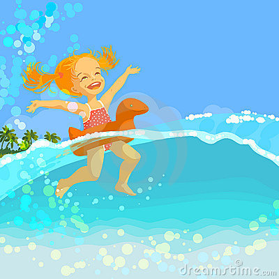 Free Happy Little Girl Swim In Inflatable Ring Royalty Free Stock Photos - 18858528