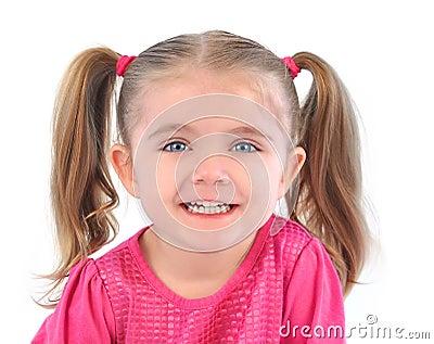 Happy Little Girl on White Background