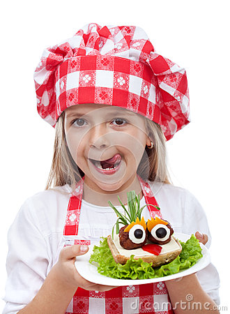 Free Happy Little Girl With Chef Hat And Creative Sandwich Stock Images - 41240194