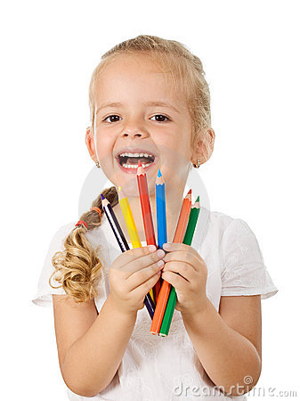 Free Happy Little Girl With Colored Pencils Stock Photography - 15717322