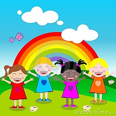Free Happy Little Girls With Open Arms Outdoor Royalty Free Stock Images - 20301879