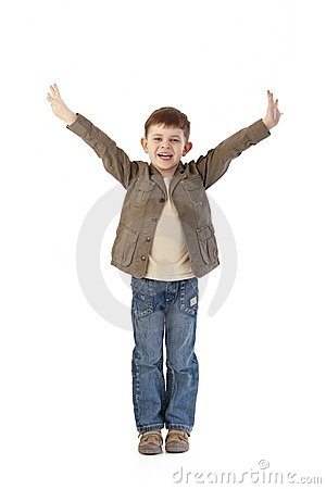 Happy little kid with arms wide open