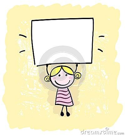 Happy little kid girl holding empty blank.