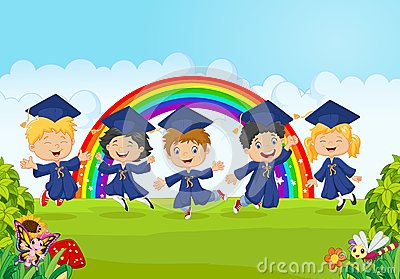 Happy little kids celebrate their graduation with nature background Vector Illustration