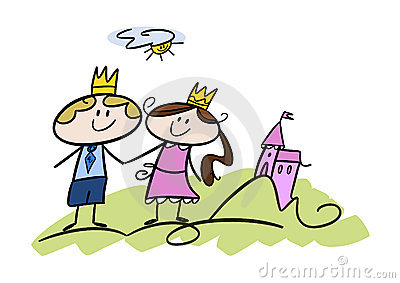 Happy little prince and princess