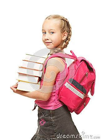 Happy little schoolgirl