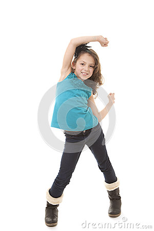 Happy little girl dancing