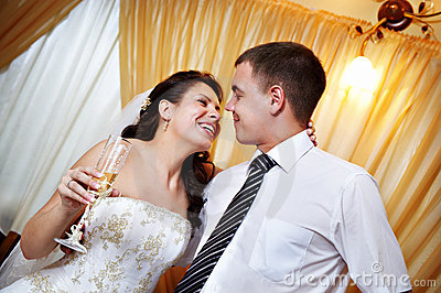 Happy look bride and groom look