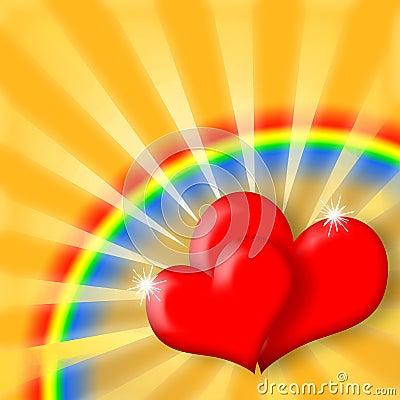 Happy Love Hearts and Rainbow