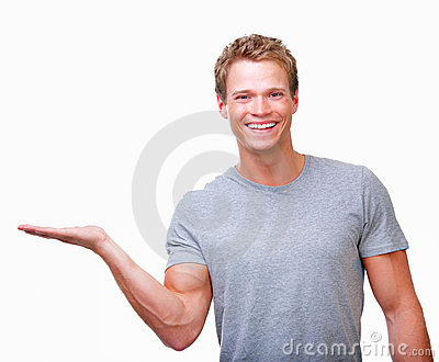 Happy male gesturing