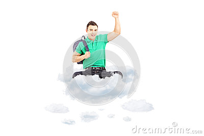 Happy male student sitting on a cloud with raised hand gesturing