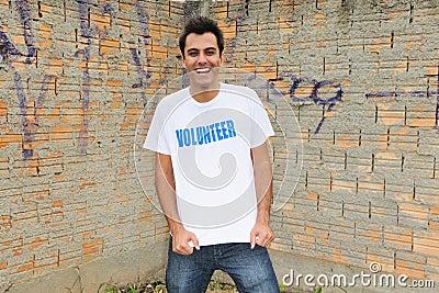 Happy male volunteer