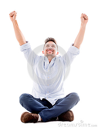 Happy man with arms up