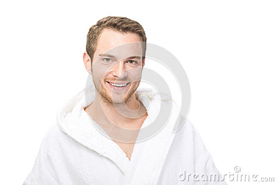 Happy man in bathrobe