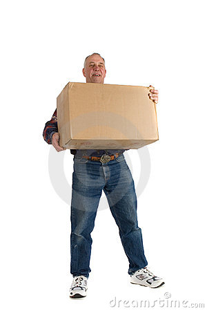 Happy man with a box
