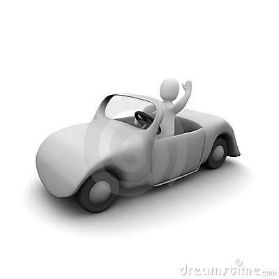 Happy man in cabriolet car