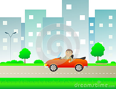 Happy man with car cabriolet in city road