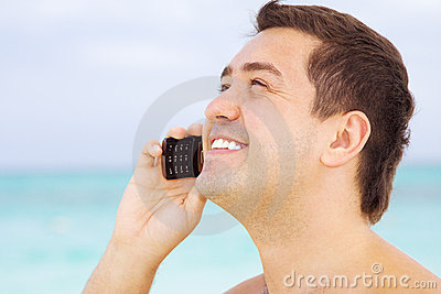 Happy man with cell phone