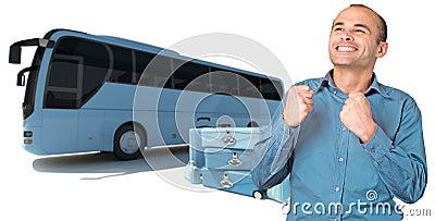 Happy man on coach bus trip