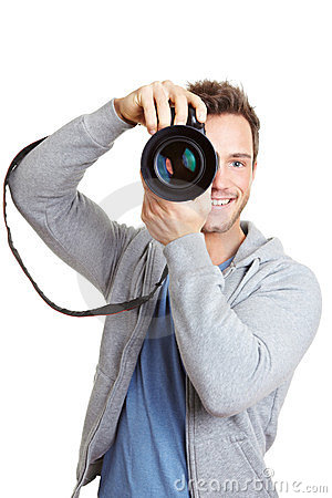 Happy man with digital camera