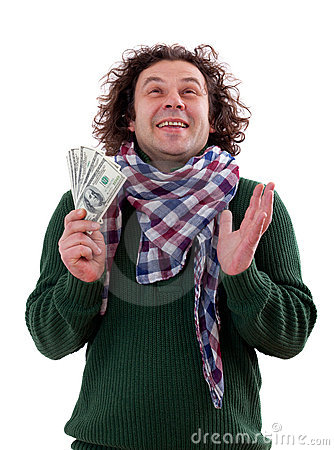 Happy man with dollars