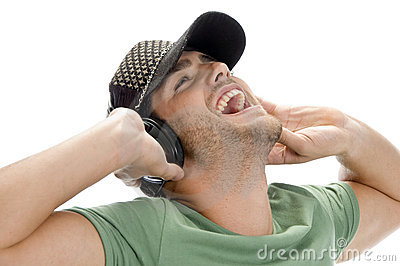 Happy man enjoying music
