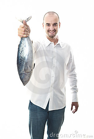 Happy man with fish