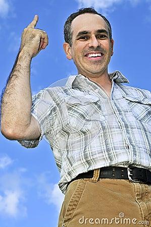 Happy man gesturing