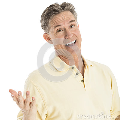 Happy Man Gesturing Over White Background