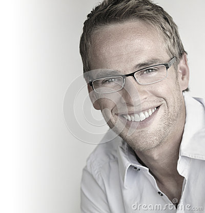 Happy man in glasses