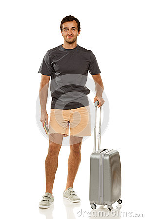 Happy man going to vacations